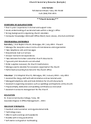 Church Secretary Resume (sample)