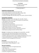 Church Secretary Resume (sample)