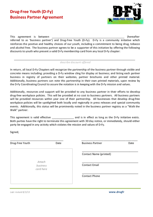 Drug Free Youth Business Partner Agreement Template