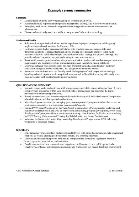Example Resume Summaries Printable pdf