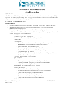 Pacific Whale Foundation Director Of Retail Operations Job Description
