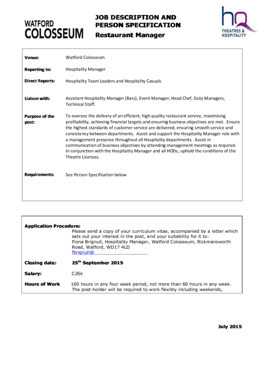 hq job description and person specification restaurant manager