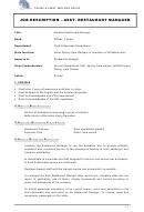 Job Description - Asst. Restaurant Manager
