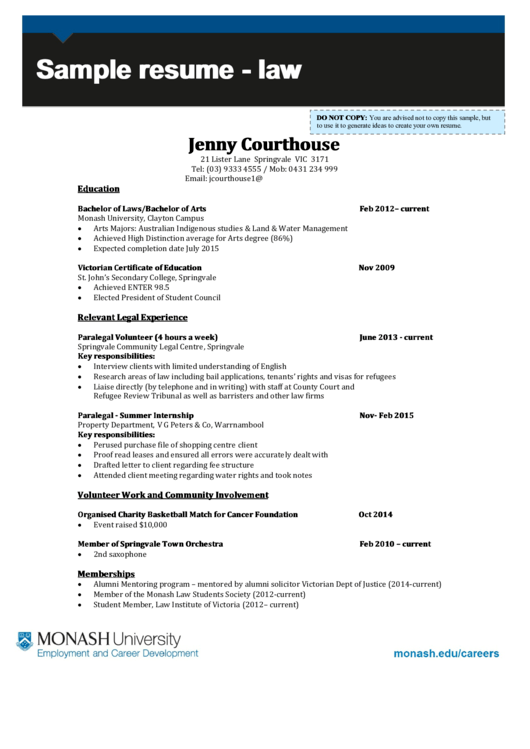 Monash University Sample Resume  Law printable pdf download