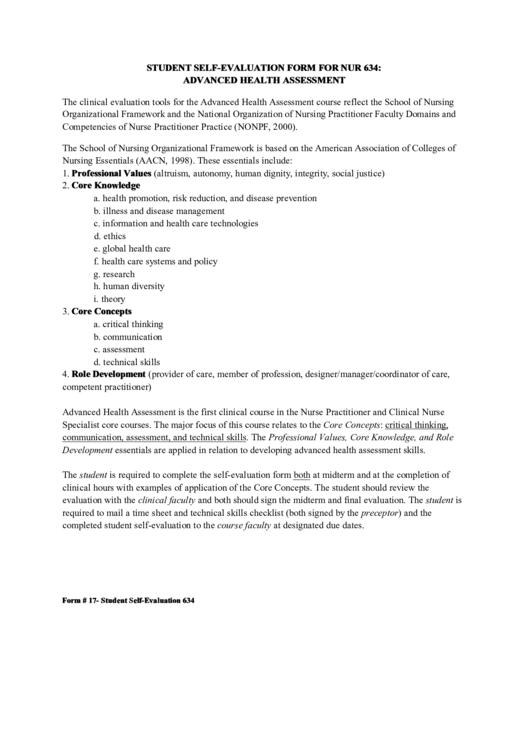 Student Self-evaluation Form For Nur 634: Advanced Health Assessment ...