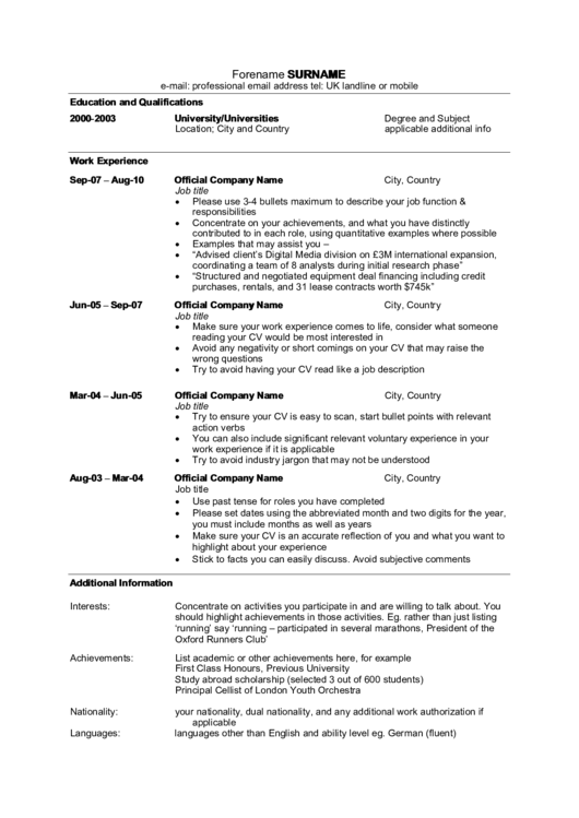 Sample Resume Template With Work Experience Printable pdf