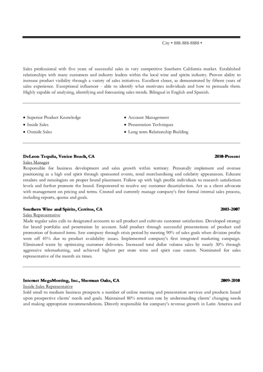 Wine And Spirits Sales Professional Sample Resume