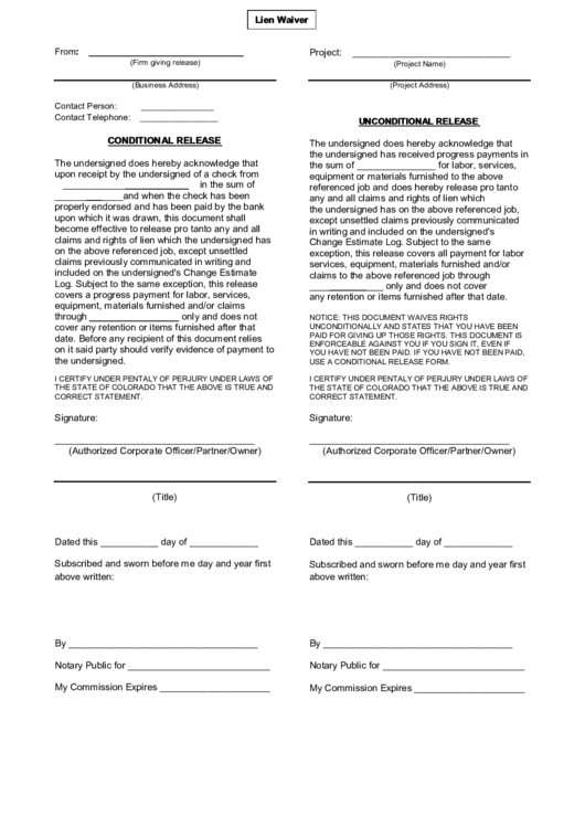76 lien waiver form templates free to download in pdf