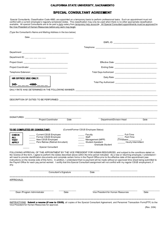 California State University - Special Consultant Agreement Printable pdf