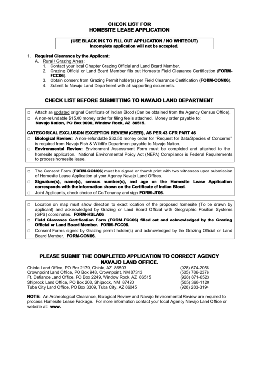 homesite lease application printable pdf download