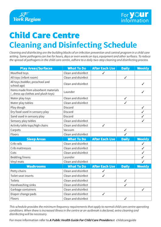 Cleaning Tips For Child Care With Printable Cleaning