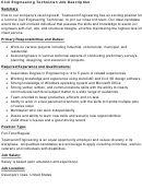 Civil Engineering Technician Job Description