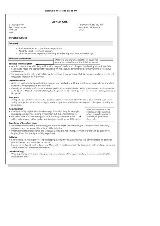 Example Of A Skills-Based Cv Printable pdf