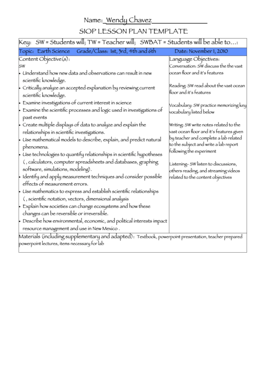 Siop Lesson Plan Sample Earth Science Printable Pdf Download