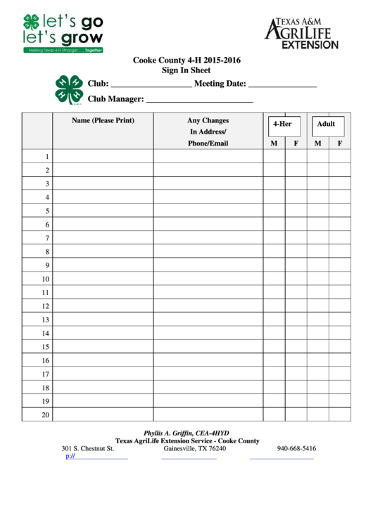 Club Sign-in Sheet