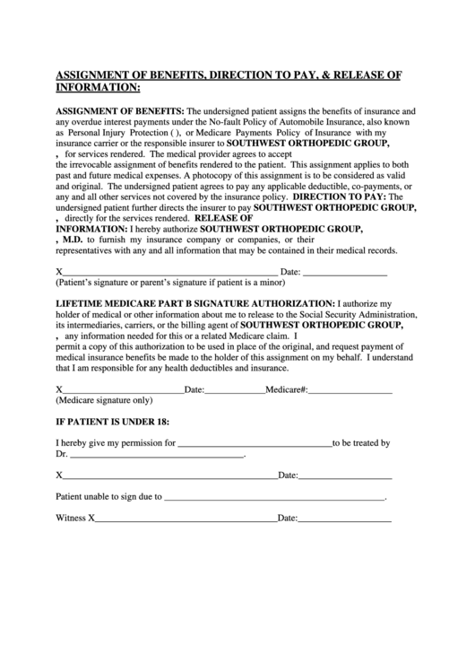 Assignment Of Benefits, Direction To Pay And Release Of Information Form