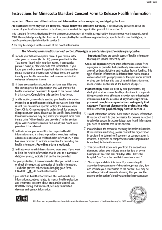 Minnesota Standard Consent Form To Release Health Information