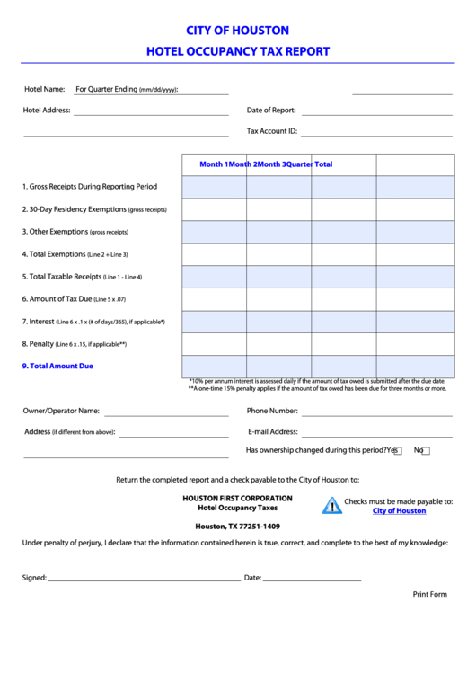 Top 14 Texas Hotel Occupancy Tax Form Templates free to download ...