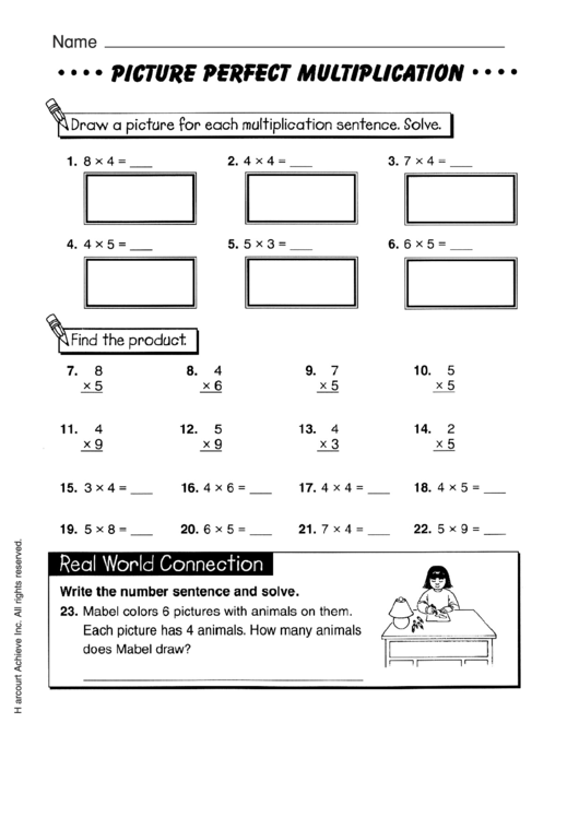 Picture Perfect Multiplication Worksheet With Answer Key ...