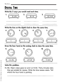 Digital Time Worksheet With Answer Key