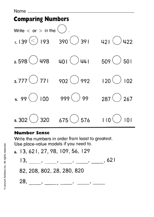 Comparing Two & Three Digit Numbers Worksheet With Answer Key