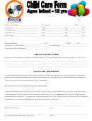 Health History Form Child Care Agreement - Sullivan County Community