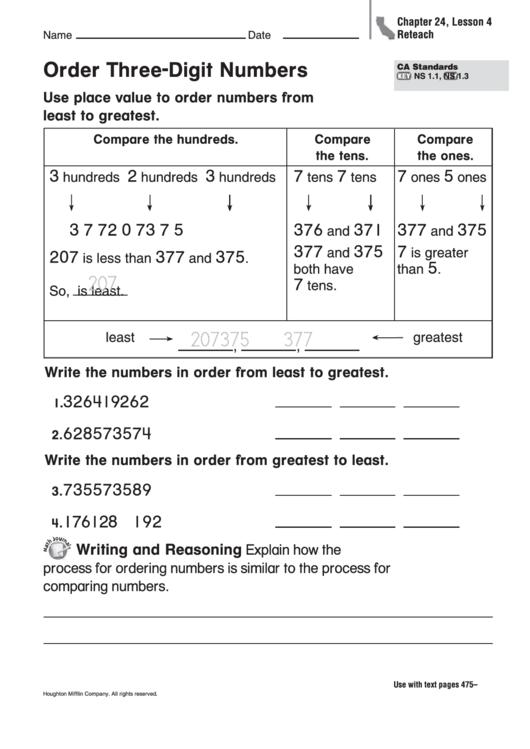 Order Three-digit Numbers Worksheet