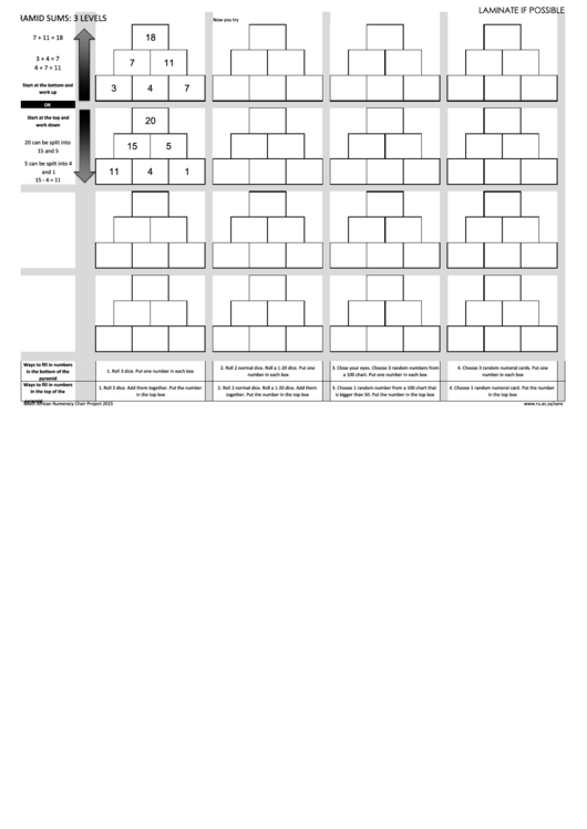 Pyramid Sums:3 Levels Printable pdf