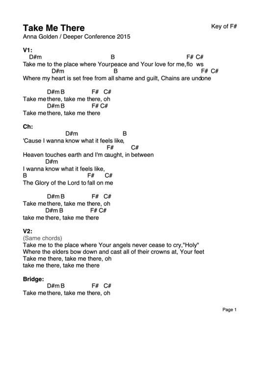 Take Me There Sheet Music Printable Pdf Download