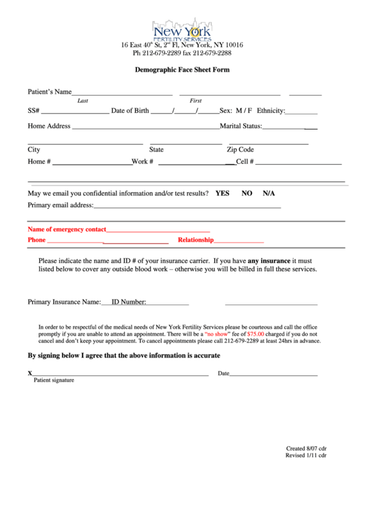demographic face sheet printable pdf download