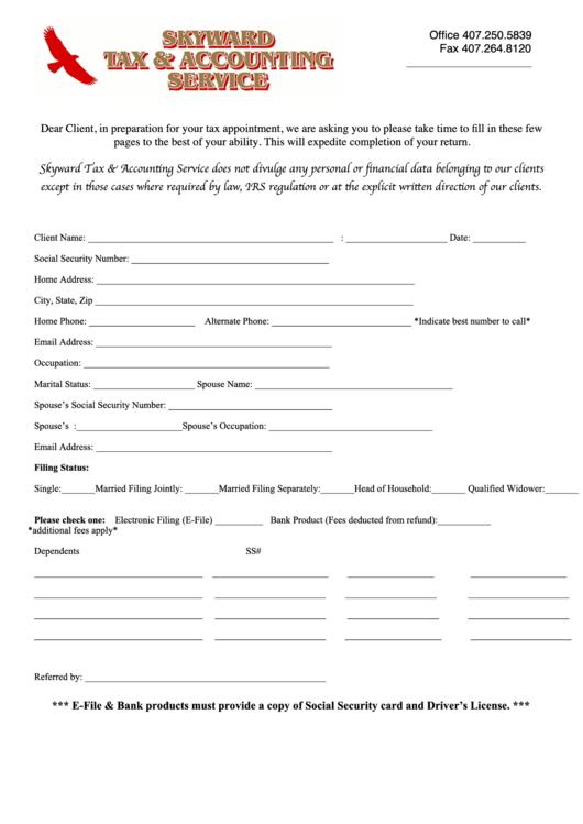 Client Information Sheet Printable pdf