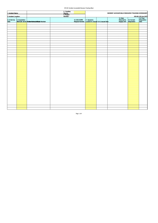 Ics 261 Incident Accountable Resource Tracking Sheet