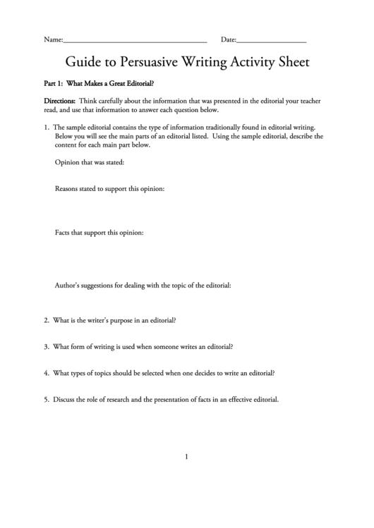 how to write a persuasive editorial