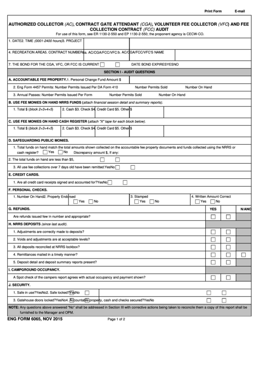 Eng Form 6065 - Authorized Collector, Contract Gate Attendant, Volunteer Fee Collector And Fee Collection Contract Audit