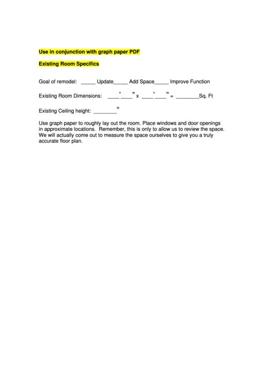 Existing Room Specifics Printable pdf
