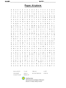 Paper Airplane Word Search Puzzle Template