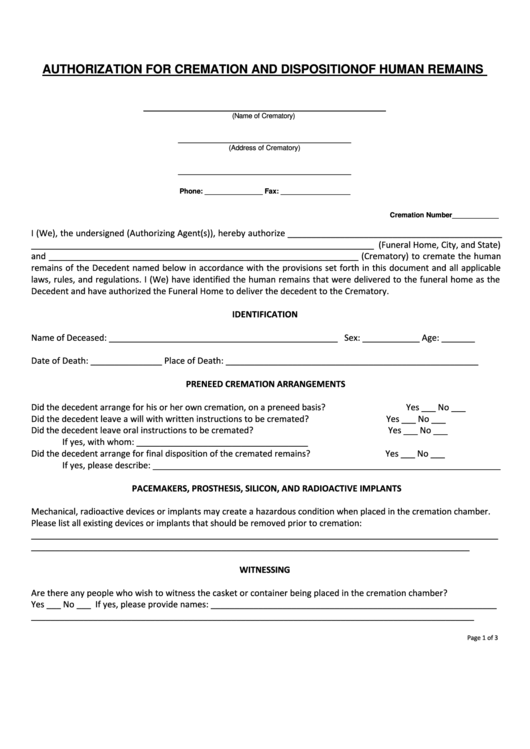 Authorization For Cremation And Disposition Of Human Remains Printable pdf