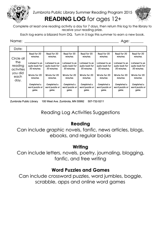 Reading Log For Ages 12+