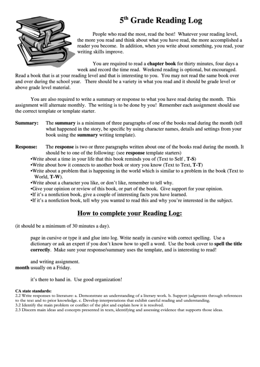 5th grade reading log printable pdf download