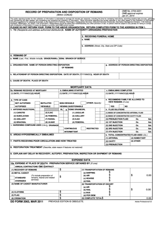 Fillable Dd Form 2063 - Record Of Preparation And Disposition Of Remains Printable pdf