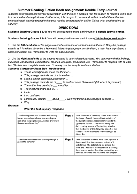 double entry journal a separate piece Literary journal literary arts  fiction should be a maximum of 25 double-spaced pages in 12-point  please confirm on the entry that the piece can be classified.