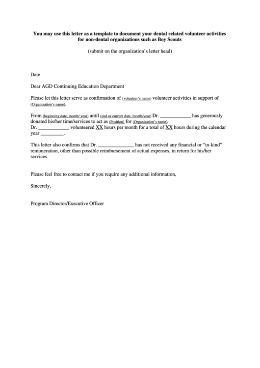 Volunteer Activities Confirmation Letter Template