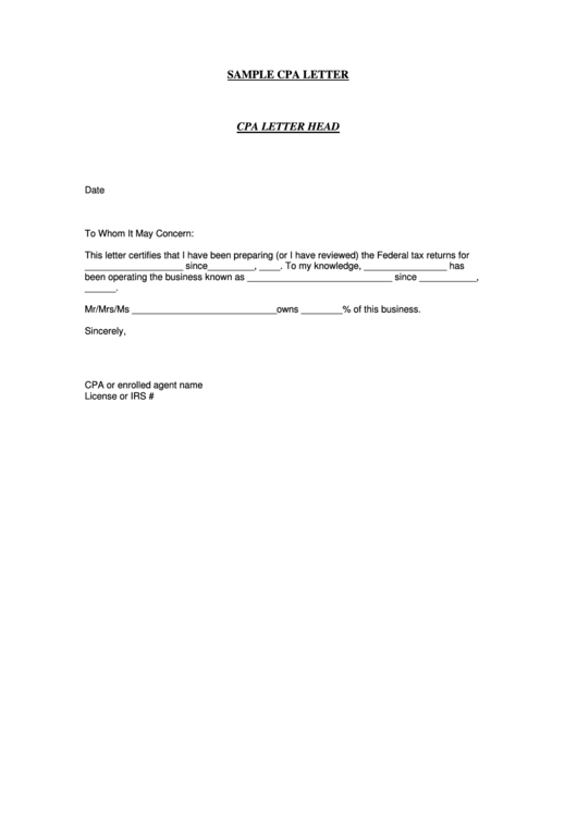 sample cpa letter template