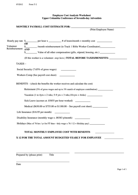Employee Cost Analysis Worksheet Template (Sample) Printable pdf