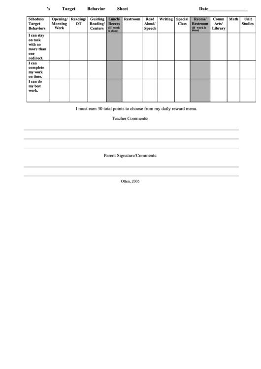 Target Behavior Sheet Printable pdf