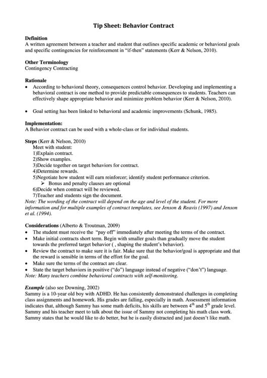 Tip Sheet Behavior Contract