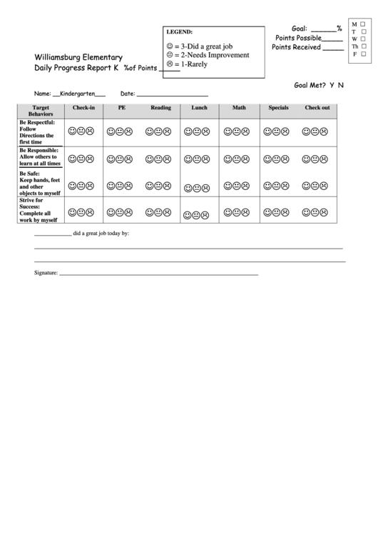 Daily Behavior Points Sheet Printable pdf