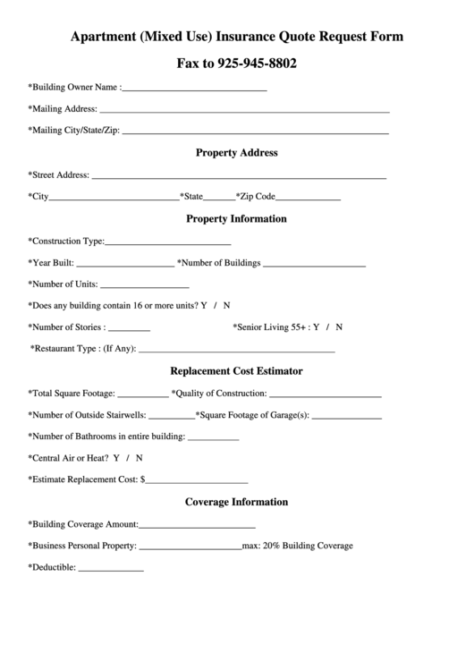 Apartment (mixed Use) Insurance Quote Request Form