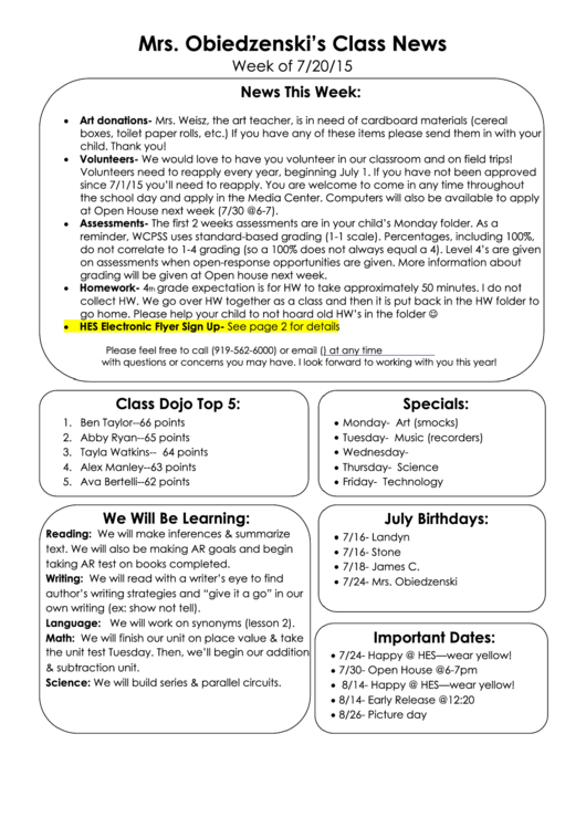 Second Grade Weekly Worksheet