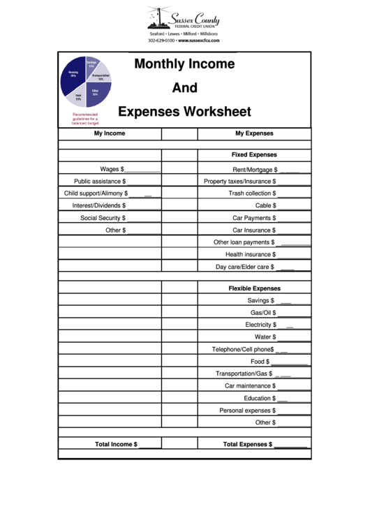 Fillable Monthly Income And Expenses Worksheet printable ...